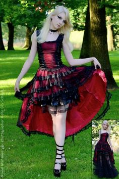 Velika RED Satin Ribbon Laceup Fishtail Dress by Sinister****Again, not normally into asymmetrical hemlines. But do love this dress.