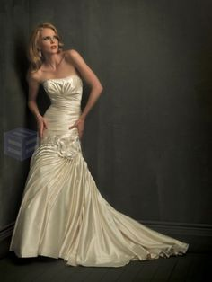Mermaid Taffeta symmetrical Side Draped Bodice Softly Curved Neckline Chapel Length Train Wedding Dresses