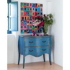 Cómoda de madera macizo azul L.90cm