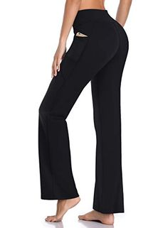 e6a8c81071 HISKYWIN Side Pockets Yoga Pants 4 Way Stretch Tummy Control Workout  Running Pants, Long Bootleg Flare Pants HF201-Black-XXL