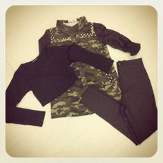 MISS CHIEVIOUS:  Adelaide Stud Camouflage Jacket http://www.missguided.co.uk/adelaide-stud-camouflage-jacket-with-leather-sleeves / Magda Long Sleeve Crop Top http://www.missguided.co.uk/magda-long-sleeve-crop-top & Eugenie Shiny Disco Pants http://www.missguided.co.uk/eugenie-shiny-disco-trousers    #MGcompetition