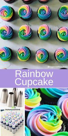 Tie Dye Cupcakes, Swirl Cupcakes, Cupcake Icing, Themed Cupcakes, Birthday Cupcakes, Cupcake Cakes, Tie Dye Frosting, Candy Land Cupcakes, Rainbow Cupcakes Recipe