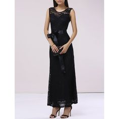 Graceful Ribbon Sashes Scalloped Women's Lace Dress In Black | Twinkledeals.com