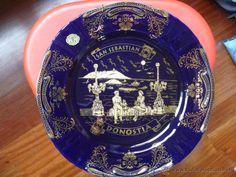 Plato oro de ley porcelana San Sebastian Donostia. Década de los 70. Medidas: 25,5 cm