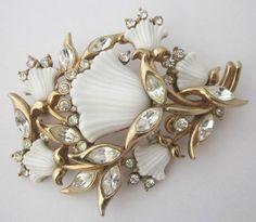 Vintage Crystal Rhinestone Carved Milk Glass Flower Brooch Hollycraft | eBay