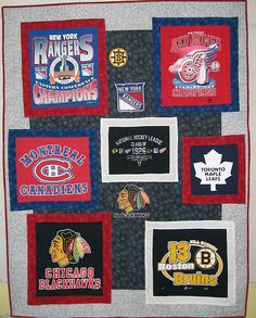 T Shirt Quilts Photo Gallery: The Original Six T-Shirt Quilt Quilting Projects, Sewing Projects, Quilting Ideas, Sewing Ideas, Blue Jean Quilts, Original Six, School Cheerleading, Girl Scout Crafts, Twin Quilt