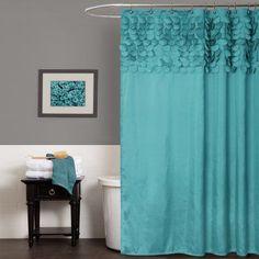 Love this Turquoise Lillian Shower Curtain by Lush Décor on Teal Curtains, Elegant Curtains, Fabric Shower Curtains, Bedroom Curtains, Door Curtains, Kitchen Curtains, Mermaid Bathroom, Azul Tiffany, Diy Bathroom Remodel