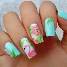 Popular Cute Flamingo Themed Nail Art Ideas - Nail Design Ideas, Gallery of Best Nail Designs Cute Nails, Pretty Nails, My Nails, Beach Nail Designs, Cute Nail Designs, Vacation Nails, Nagellack Trends, Beach Nails, Hawaii Nails
