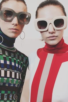 60s sunglasses and colour blocking backstage at Jonathan Saunders AW15 LFW. See more here: http://www.dazeddigital.com/fashion/article/23760/1/jonathan-saunders-aw15