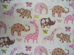 USA Designer Stoff Elefant Giraffe Nilpferd Nashorn (DaWanda)
