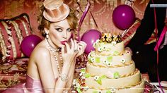 Kylie Minogue Eating Cake