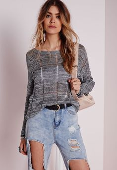 Missguided - Grid Stitch Detail Drop Hem Jumper Grey