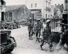 WWII British 8th Army Troops Enter Town of Misterbianc