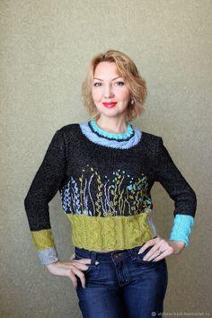 Купить Авторский пуловер «Марс в цвету» - авторская работа, пуловер с косами, вязание на заказ