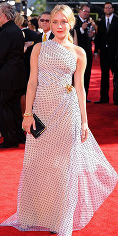 CHLOE SEVIGNY  The Big Love actress may be known for her quirky fashion choices, but she's perfectly chic in her one-shoulder, dotted Isaac Mizrahi gown with a bold brooch on the hip and a Lana Marks clutch.