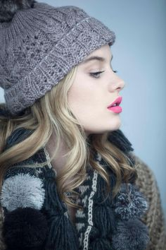 Love this hat and scarf...and her makeup!