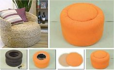 Tires as an ottoman!! Use a water proofing spray and have these awesome seats anywhere in the yard :) LOVE IT!!