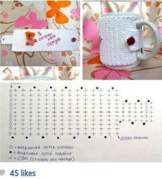 Crochet Mug Cover - Chart  ❥ 4U hilariafina  http://www.pinterest.com/hilariafina/