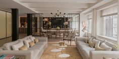 This Stunning New York Apartment Building Used to Be a Parking Garage House, Home, Living Dining Room, Family Living Rooms, Apartment, Elle Decor, Interior Design, Apartment Building, New York Apartment
