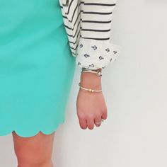 Megan Bos Preppy Style Inspiration | Scallop teal dress, stripped anchor blazer with gold bracelets