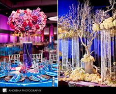"""Here is the same tree centerpiece adorned with some """"hovering"""" accent pieces for the center of a two sided head table.  More inspiration."""