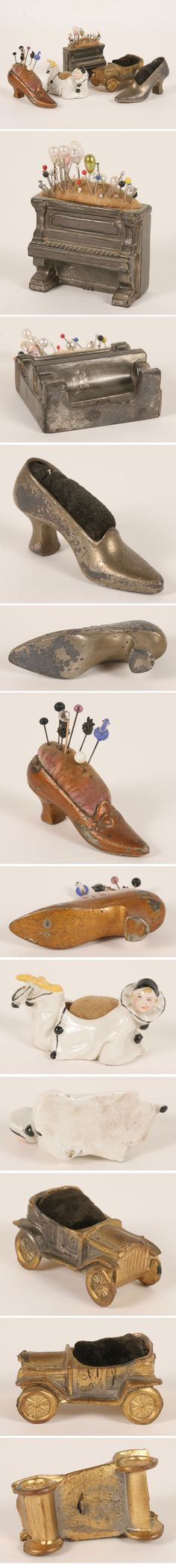 Collection of antique cushions for needles or hat pins? shaped like victorian shoes, piano and a car.