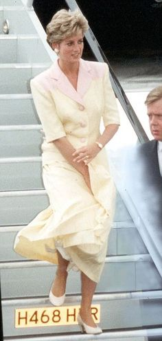 Arriving home from a triumphant visit to Pakistan in 1991 Princess Diana almost lost her composure at Gatwick when high winds whipped at her...