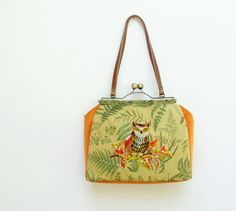 Woodland Owl Bag - Vintage Embroidery, Linen, Kiss-lock, Leather, Velvet. $160.00, via Etsy.