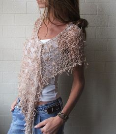 Poncho / Nude Ribbon Poncho by ileaiye on Etsy,