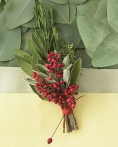 Image result for using foliage and red berries for boutonniere
