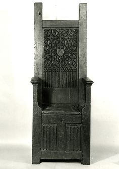 15th century High Backed Chair Marking: Arms: (carved in center of back) - A chevron.