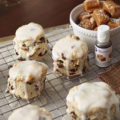 Cinnamon Raisin Biscuits with Caramel Glaze