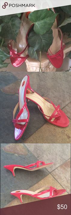 Kate Spade made in Italy hot pink sandals 9.5 Great used condition. Store display. Only flaw is a color transfer which you can hardly see in this hot pink patent leather slip on sandals. kate spade Shoes Sandals