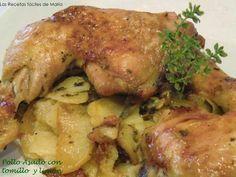 Una receta sencilla, barata y rica: pollo asado con tomillo y limón