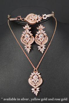 Art Deco Wedding Earrings.Crystal rose Gold Chandelier Earrings, Wedding Jewelry…