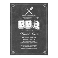 Shop Stylish Weathered Wood BBQ Retirement Party Invitation created by myinvitation. Retirement Party Decorations, Retirement Party Invitations, Retirement Parties, Custom Invitations, Chalkboard Invitation, Framed Chalkboard, Invitation Ideas, Fun Baby Announcement, Baby Boy Scrapbook
