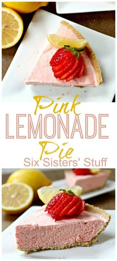Frozen Pink Lemonade Pie has been a family favorite for years! Sixsistersstuff.com