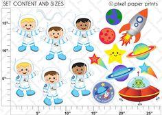 Astronauts Clip art and Digital paper set by pixelpaperprints