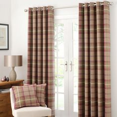 Plum Highland Check Lined Eyelet Curtain Collection | Dunelm