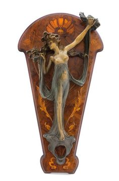 A French Art Nouveau Bronze and Marquetry Figural Two-Light Sconce.