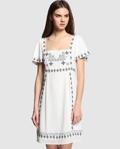 Vestido de mujer Tintoretto en color blanco con bordados