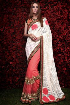 #Andaazfashion Présente rose et blanc georgette sari avec chemisier en soie d'art  http://www.andaazfashion.fr/womens/sarees/pink-and-white-georgette-saree-with-art-silk-blouse-dmv8459-23852.html