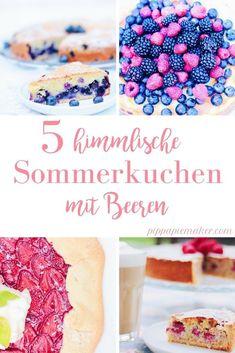Diese 5 Sommerkuchen mit Beeren eignen sich alle perfekt zum Mitnehmen, sind einfach zu backen und schmecken herrlich frisch und fruchtig! Blaubeerkuchen, Erdbeergalette, Schmandkuchen, Himbeerkuchen und Erdbeer-Buttermilch Tarte.