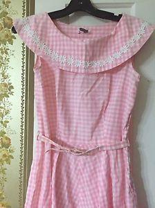 Vintage-50-039-s-Pink-Gingham-Roxanne-Adams-Dress
