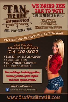 Southern California's Best Mobile Spray Tanning Business www.tanyerhideie.com