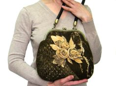 Felt bag, bag with flower, brown, size 11 x 10 x 4.5 inches.