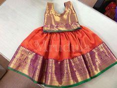pattu lehengas Kids Party Wear Dresses, Kids Dress Wear, Kids Gown, Dresses Kids Girl, Kids Outfits, Kids Wear, Baby Girl Dresses, Baby Girls, Kids Indian Wear