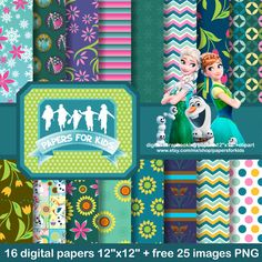 Digital Papers, Frozen Fever, Princess Elsa, Princess Anna, Girls, Background, Clipart by PapersforKids on Etsy https://www.etsy.com/listing/227636981/digital-papers-frozen-fever-princess