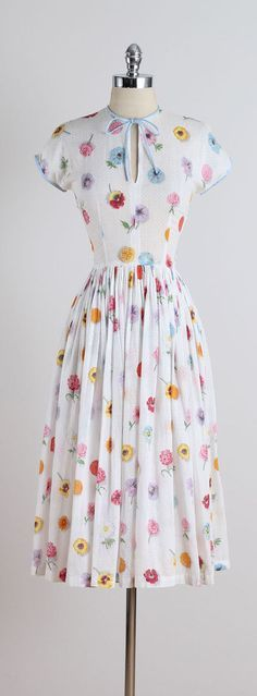 Pressed Flowers . vintage 1950s dress . by millstreetvintage
