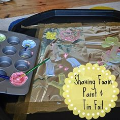 Sensory Play: Shaving foam paint and tin foil as part of the Adventures of Adam 31 Day Sensory Play Challenge! Baby Room Activities, Eyfs Activities, Activities For 2 Year Olds, Painting Activities, Creative Activities, Creative Play, Infant Activities, Colour Activities, Creative Area